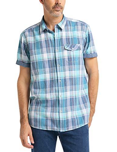 Pioneer Herren Shirt Linen Mix Check Freizeithemd, Türkis (Aquamarine 526), 5XL