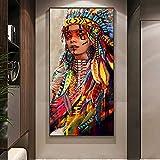 wZUN Acuarela Abstracta indígena Indio Retrato de niña Lienzo Pintura Carteles e Impresiones Mujer Tribal Cuadro de Arte de Pared para la Sala de Estar 50X100CM