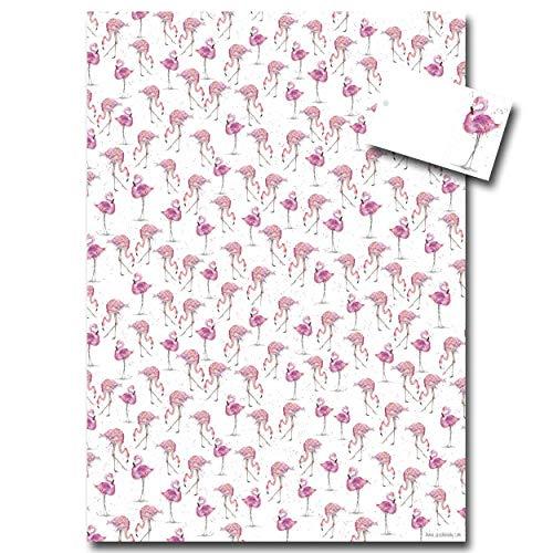 Flamingo Geschenkpapier–Pink Geschenkpapier–Sarah Boddy–Einzelbogen mit passender Geschenkanhänger–Made in England