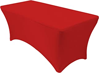 Your Chair Covers - Stretch Spandex 6 ft Rectangular Table Cover - Red, 72