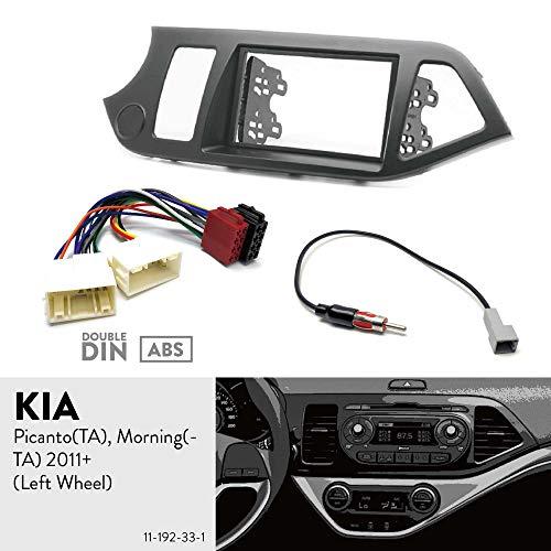 UGAR 11-192 Dubbele DIN radiofrontplaat dashinstallatie fascieset + autoradio-adapter + radioantenne-adapter voor KIA Picanto (TA), Morning (TA) 2011+