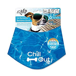 ALL FOR PAWS Chill Out Dog Ice Bandana, Instant Cooling Pet Bandana, Breathable Scarf Dog Cat Ice Collar for Summer