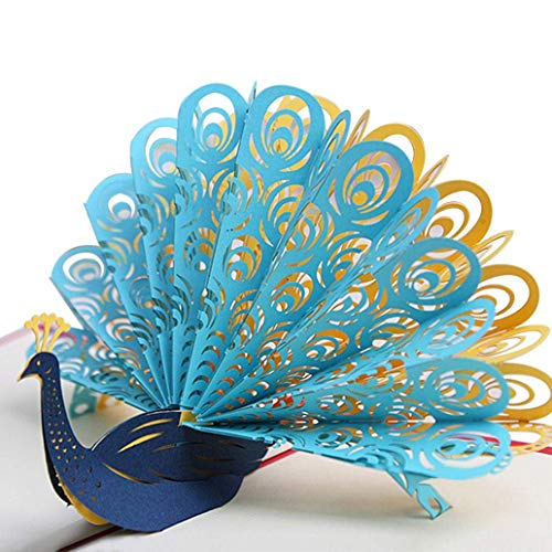 Peacock 3D Pop up Greeting Cards Handmade Cards for Valentines Lovers Couple's Wedding Anniversary