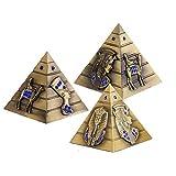 3 Piezas Escultura Metalica, Pirámide Egipcia de Metal Estatua para Decoración de Oficina en el hogar (S/M/L), Adecuada para Oficina, decoración del hogar, Aniversario, Regalo de Amigo (Bronce)