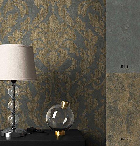 NEWROOM Barocktapete Tapete Schwarz Ornament Barock Vliestapete Gold Vlies moderne Design Optik Barocktapete Wohnzimmer Glamour inkl. Tapezier Ratgeber
