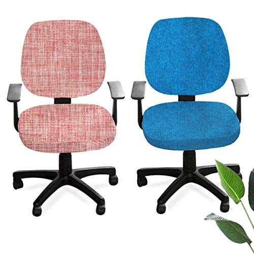 Senteen Bezug Bürostuhl, 2pcs Stuhlhussen Elastisch Bürostuhlbezug Stretch Stuhl Sitzbezug Herausnehmbarer Waschbarer Stuhlbezug Sitzschutzbezug Für Bürohochstühle Drehstuhl