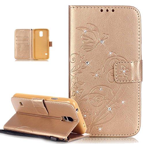 Kompatibel mit Galaxy S5 Mini Hülle,Galaxy S5 Mini Lederhülle,Strass Glänzend Prägung Blumen Reben Schmetterling PU Lederhülle Handyhülle Taschen Flip Wallet Ständer Schutzhülle Mini,Gold