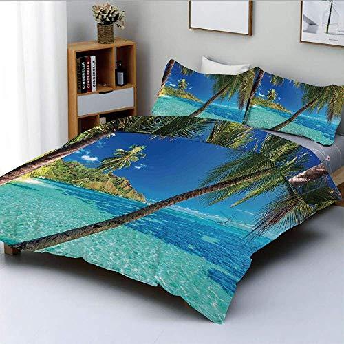 Juego de Funda nórdica, Imagen de una Isla Tropical con Palmeras y Estampado de Tema Clear Sea Beach Juego de Cama Decorativo de 3 Piezas con 2 Fundas de Almohada, Azul Turquesa