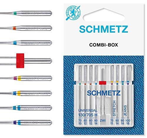 SCHMETZ Nähmaschinennadeln Set 4 Universal Nadeln | 2 Stretch Nadeln | 2 Jeans Nadeln | 1 Zwillings-Universal-Nadel | geeignet für alle gängige Haushalts-Nähmaschinen