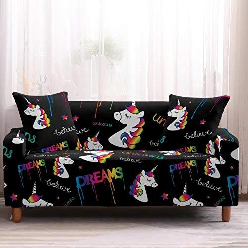 EMOHKCAB Einhorn gedruckt Günstige Sofabezug Stretch Couchbezüge Sitzbezug Liebessitz Schlafsofa Bettbezug Anti-Haustiere Funiture All Warp Sofa, 5, Einsitzer