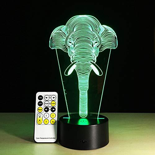 Nur 1 Stück Lucky Elephant 3D Illusion Kinder Schlafatmosphäre Lichter Bunte LED-Lampe Babyspielzeug Geburtstagsgeschenk Touch Touch Fernbedienung