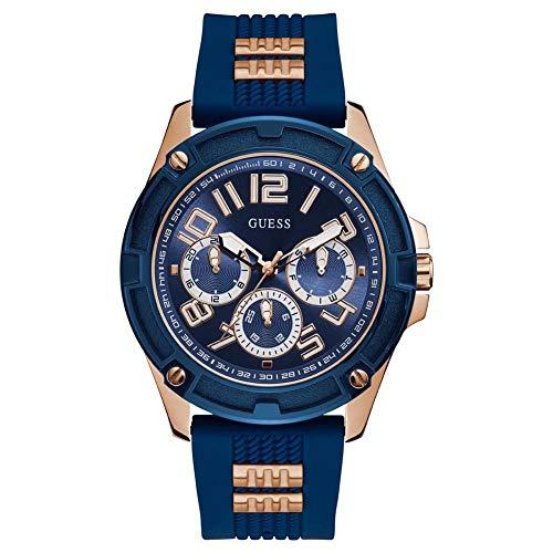 Guess GW0051G3 Herenhorloge, blauw, armband van siliconen met textuur en roségouden inzetstukken