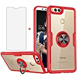Phone Case for Huawei Honor 7X with Tempered Glass Screen Protector Clear Cover and Magnetic Stand Ring Holder Slim Hard Cell Accessories Transparent Protection Huwai Huawei Honor7X X7 Cases Men Red