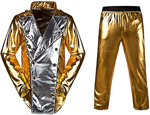 Veste Michael Jackson Michael Jackson World Tour Gold History Jacket avec Pantalon Cosplay Costume Classique (Or, Small)