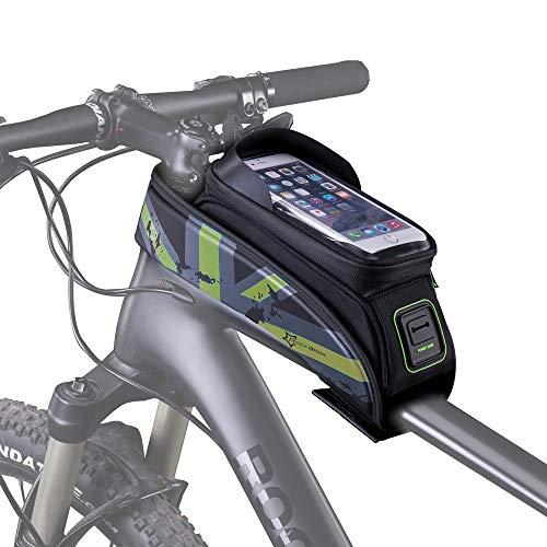 HSNMEY Rahmentasche wasserdicht Oberrohrtasche Touchscreen mit Schirm für 5,8/6 Zoll Handy Fahrrad MTB, Grün 5,8 Zoll