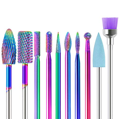 SPTHTHHPY Nail Drill Bits Sets, 10pcs Electric Nail Drill Kit 3/32' Ceramics/Tungsten Carbide Electric Nail Files Electric Manicure Set Manicure Pedicure Home Salon Use