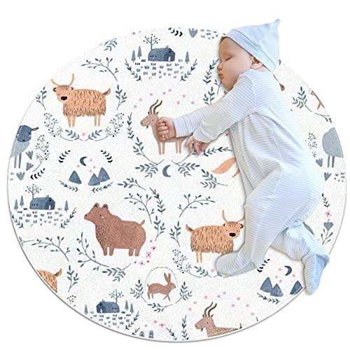 JHKHJ Alfombra de cocina lavable entrada alfombra escritorio alfombra baño acento alfombra lindo animales 100x100cm