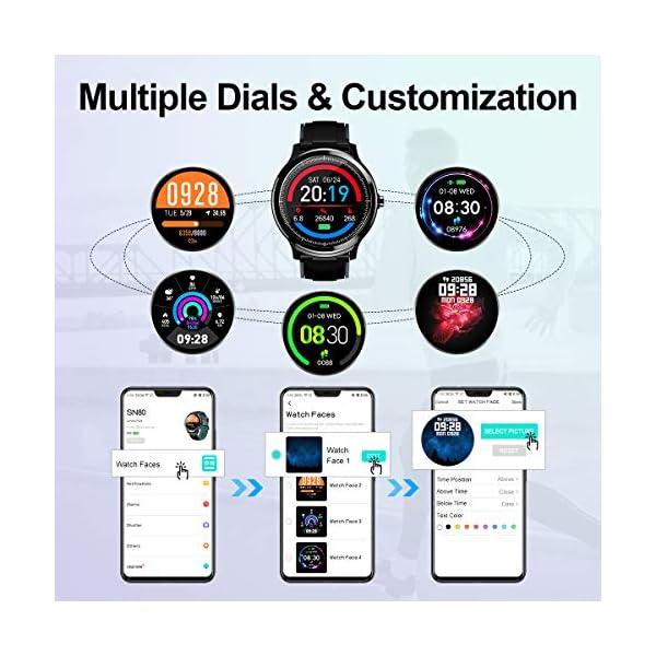 GOKOO Bluetooth Smartwatch Hombre Reloj Inteligente Fitness IP68 Impermeable Actividad Monitor Pulsómetro Compatible con… 8