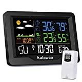 Kalawen Digital Weather Station with Outdoor Sensor, MSF Wireless Alarm Clock, Colour LCD