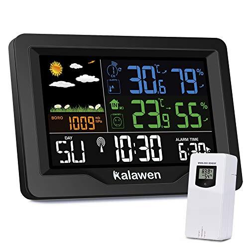 Kalawen Wetterstation mit Außensensor Innen und Außen Farbdisplay Multifunktional Digital Thermometer Hygrometer Digital-Wecker Funkwetterstation für Zuhause Büro Hausgarten