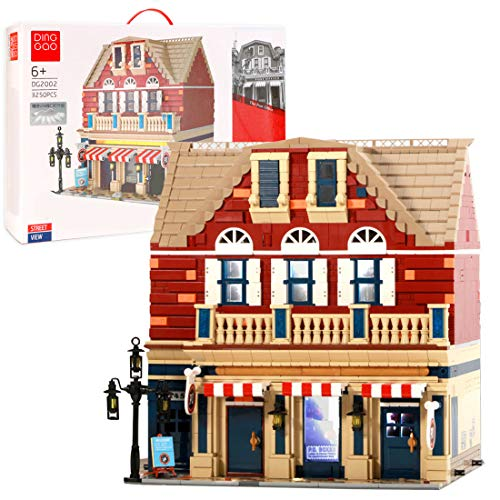 HYZM Modular Post Office Street View, 3250 piezas de tres pisos modular de construcción de casa con luces LED, bloques de construcción compatibles con Lego