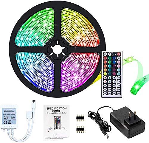 Tiras LED 5M,5050 luces LED RGB 5m con Control Remoto, IP20,no resistente al agua, cambio de color con 20 colores, kit de tiras de luces LED con 44 teclas