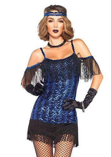 Leg Avenue Glamour Girl Flapper Adult Sized Costumes, Noir & Bleu, Small (EUR 36) Femme