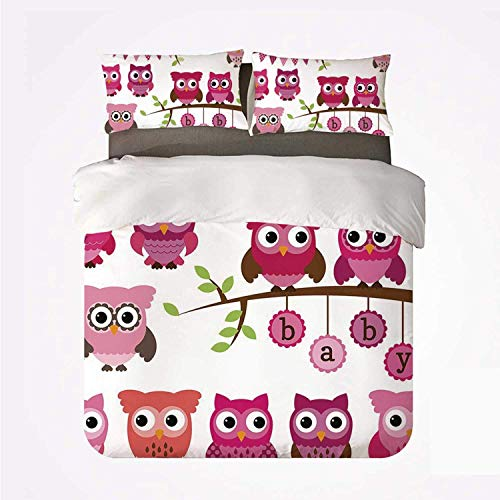 Zozun Duvet Cover Set Nursery Warm 3 Bedding Set,Girl Baby Shower Themed Owls and Branches Adorable Cartoon Animal Characters for Room