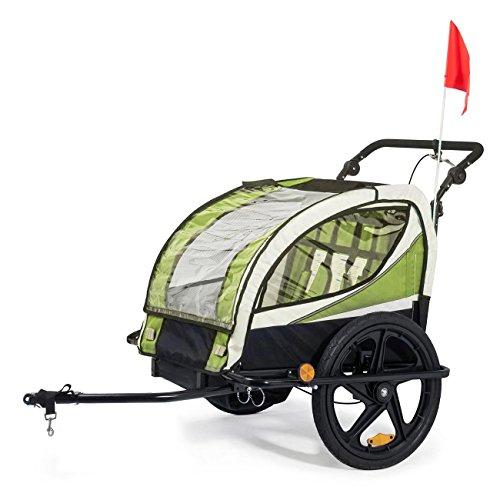 SAMAX Fahrradanhänger Jogger 2in1 360° drehbar Kinderanhänger Kinderfahrradanhänger Transportwagen vollgefederte Hinterachse für 2 Kinder in Grün – Black Frame - 3