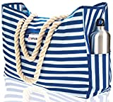 Beach Bag XXL (HUGE) - 100% Waterproof - L22'xH15'xW6' - Rope Handles - Top Magnet Clasp - Outside Pockets - Beach Tote has Waterproof Phone Case, Key Holder, Bottle Opener