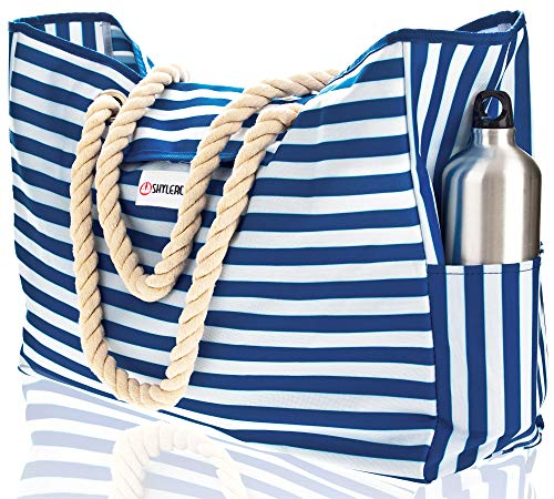 Beach Bag XL - 100% Waterproof - 17'xH15'xW6' - Rope Handles - Top Magnet Clasp - Outside Pockets - Beach Tote has Waterproof Phone Case, Key Holder, Bottle Opener