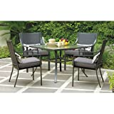 NEW Alexandra Square 5-Piece Patio Dining Set, Grey with Leaves, Seats 4