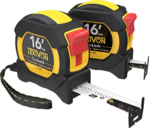 LEXIVON [2-Pack] 16Ft/5m DuaLock Tape Measure | 1-Inch Wide Blade with Nylon Coating, Matt Finish White & Yellow Dual Sided Rule Print | Ft/Inch/Fractions/Metric (LX-208)