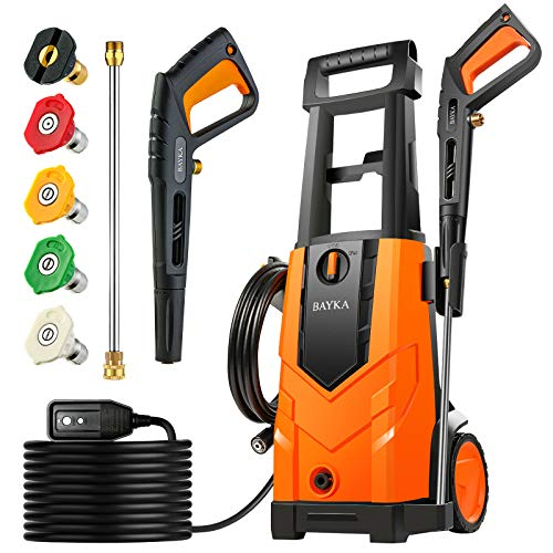 BAYKA 2100PSI Electric Pressure Washer, 1.8GPM 14.5Amps Power Washer Surface Cleaner with Spray Gun 5 nozzles Detergent Tank for Cars Fences Patios Garden Cleaning