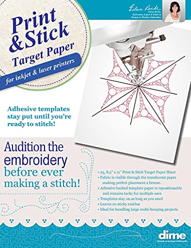 Print & Stick Target Paper, Adhesive Machine Embroidery Templates, for Inkjet & Laser Printers