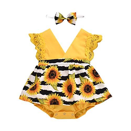 Geagodelia Pijama para bebé de verano con diseño floral, sin mangas con cuello en V, vestido de niña de encaje elegante vestido de princesa + diadema de 2 piezas