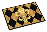 Caroline's Treasures 8125-JMAT Black and Gold Fleur de lis New Orleans Indoor or Outdoor Mat 24x36 Doormat, 24H X 36W, Multicolor