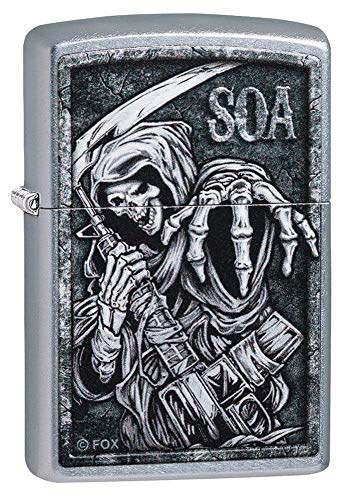 Zippo Accendino tascabile unisex 'Sons of Anarchy' Street Chrome Reaching Reaper, taglia unica