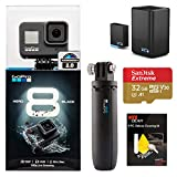 GoPro Hero 8 Black Action Camera + GoPro Dual Battery Charger with Extra Original Battery (HERO8 Black) + Gopro Shorty Tripod + 32GB U3 Memory Card + Ritz Gear 5 Piece Cleaning Kit