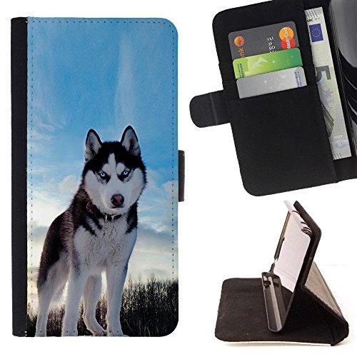 Tikcase / Cuero PU Delgado caso Billetera cubierta Shell Armor Funda Case Cover Wallet Credit Card - LG G4c Curve H522Y (G4 MINI), NOT FOR LG G4 - Happy Dog Husky;;;;;;;;