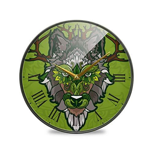 LDIYEU Ciervo Lobo Verde Reloj de Pared Silencioso Decorativo Relojs para Niños Niñas Cocina Dormitorio Hogar Oficina Escuela Decoración(9.5In 11.9In)