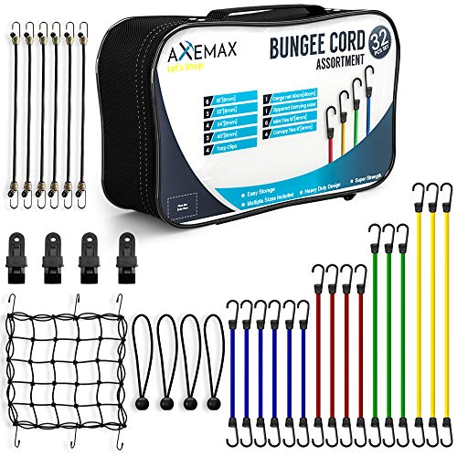 AXEMAX Bungee Cords 32 Pieces Assortment of Tarp Clips, Canopy Ties, Ball Bungie Straps and Cargo Net with Heavy Duty Plastic Coated Metal Hooks -10,18,24,32,40 inches