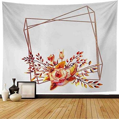 Tapestry Bird Flower Branches Pink Rose Abstract Vintage Birthday Garland Bloom Blooming Border Botanical Beach Tapestry Funny Tapestry for Living Room Bedroom 60x50 Inch