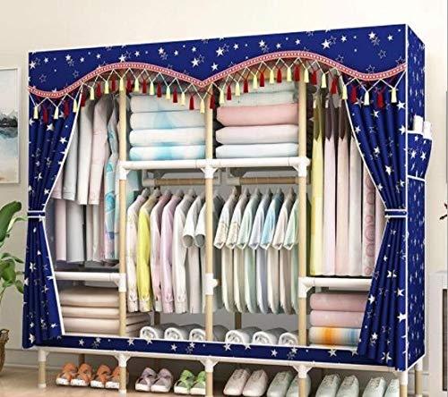QAZ Geassembleerde eenvoudige kledingkast massief hout enkele doek kledingkast opslag rack niet-stalen frame niet-plastic dubbele opslag kast meubels