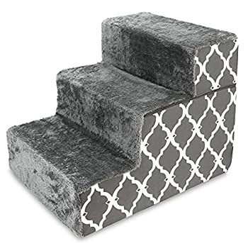 Made in USA Foldable Pet Steps/Stairs with CertiPUR-US Certified Foam by Best Pet Supplies - Gray Lattice 3-Steps  H  16.5