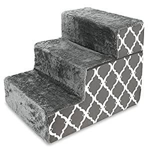 Made in USA Foldable Pet Steps/Stairs with CertiPUR-US Certified Foam by Best Pet Supplies – Gray Lattice, 3-Steps (H: 16.5″)