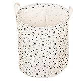 Aloiness - Bolsa de almacenamiento para la colada con estampado de estrellas para guardar juguetes, ropa, maquillaje, cesta plegable, cesta para el polvo, caja de almacenamiento para el hogar