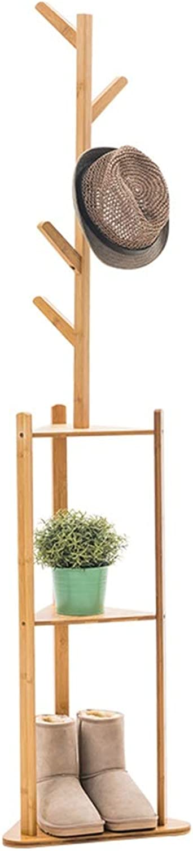 TH Floor-Standing Coat Rack, Solid Wood Bedroom Hangers, Household Space Saving Shelf, Multifunction Storage Shelf 36×180CM