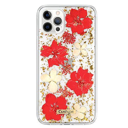 CUSTYPE iPhone 12 Pro Max Case, iPhone 12 Pro Max Clear Case Pressed Flower Case for Women Girls Cute Case Shockproof Case Compatible with iPhone 12 Pro Max 6.7', Red
