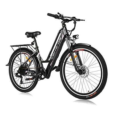"Vivi E Bike, 250W Bürstenlosen Motor elektrofahrräder, 26"", 8Ah 36V Batterie, 7-Gang, Doppelscheibenbremse (Schwarz)"